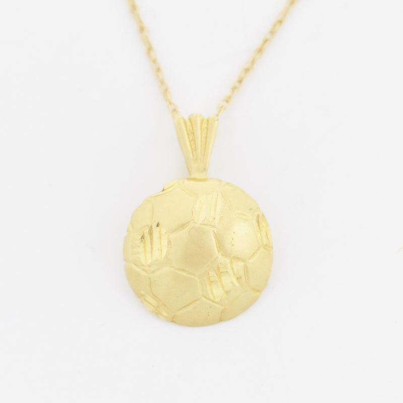 "14k Yellow Gold Estate Textured Soccer Ball 18"" Necklace"