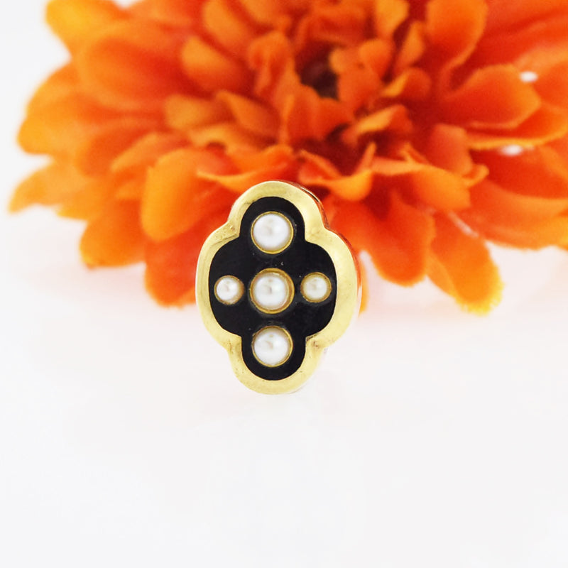 14k Yellow Gold Antique Black Enamel Pearl Slide (Pearls 3.1 mm & 2 mm)
