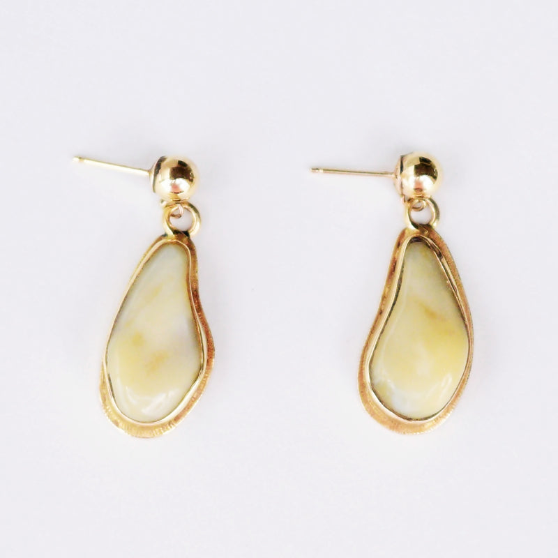 14k Yellow Gold Estate Abstrct Pear/Teardrop Bone Dangle/Drop Earrings