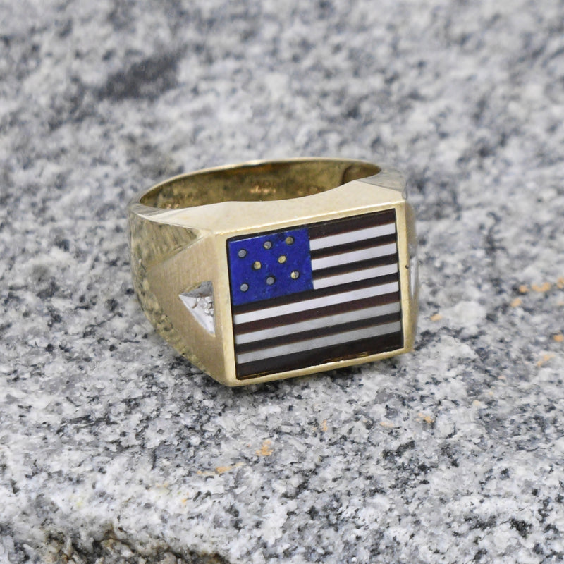 10k Yellow Gold Vintage Enamel & Diamond AMERICAN FLAG Ring Size 11