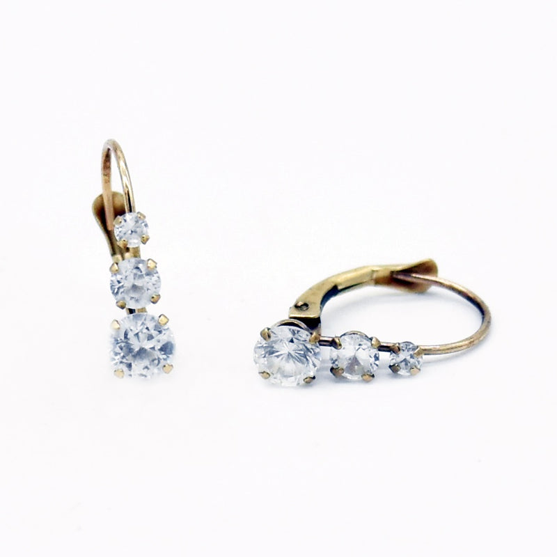 10k Yellow Gold Estate White Gemstone Leverback Earrings