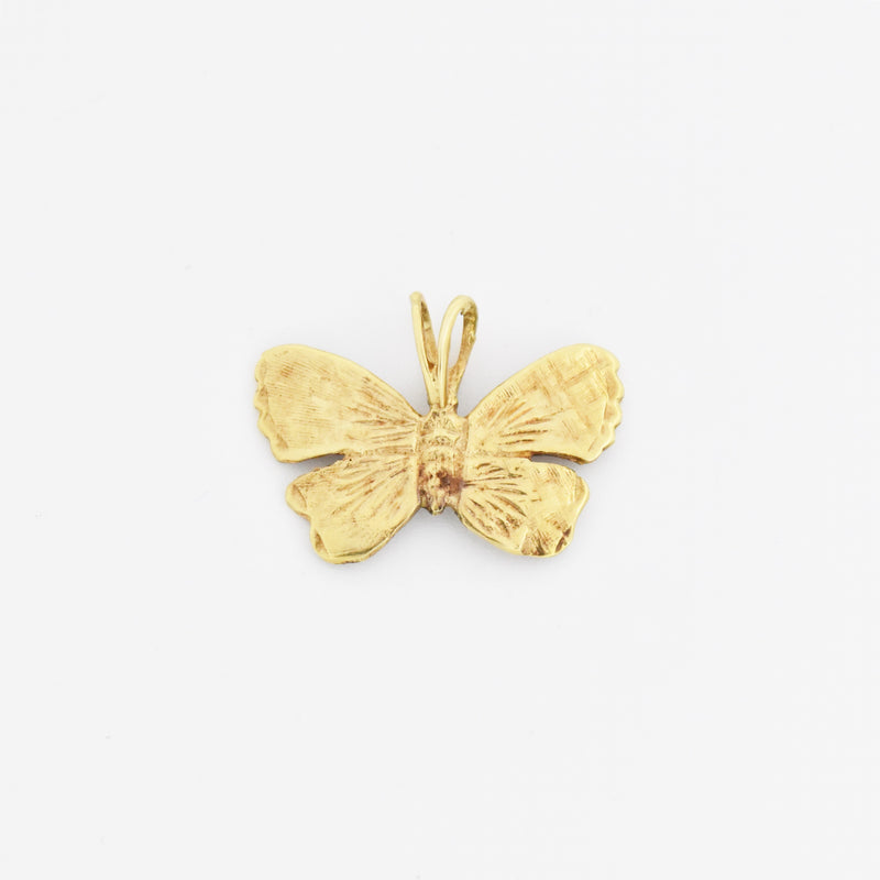 10k Yellow Gold Estate Textured Butterfly Pendant