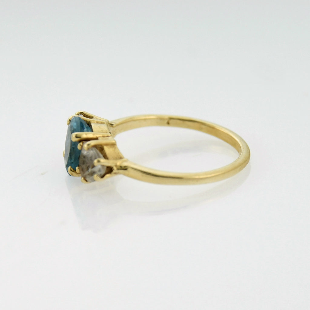 14k Yellow Gold Estate Blue & White Topaz Gemstone Ring Size 7