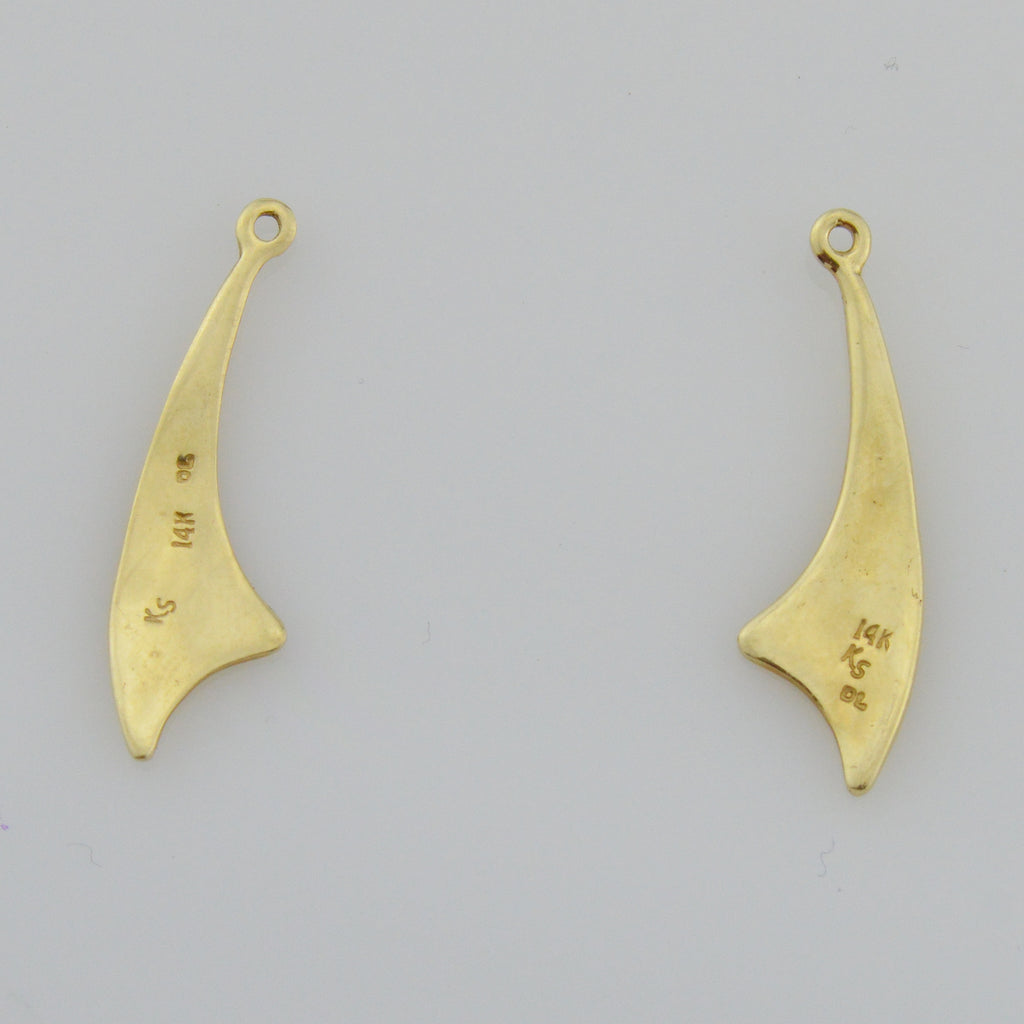 14k Yellow Gold Mid Century Modern Earring Enhancers/Jackets