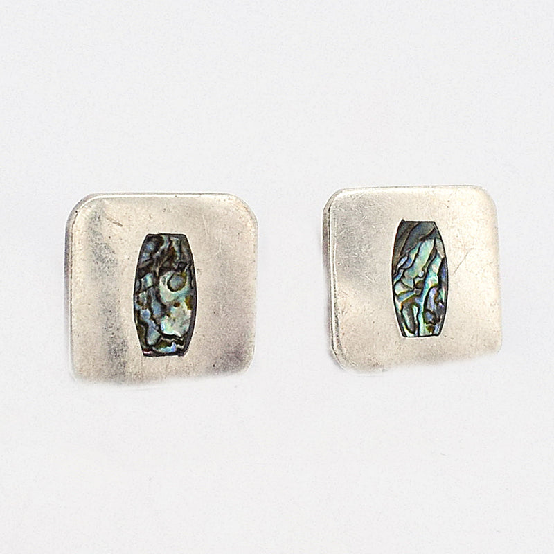Sterling Silver 925 Estate Abalone Shell Square Post Earrings