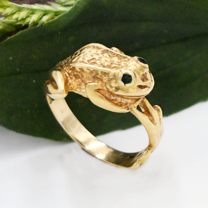 14k Yellow Gold Estate Carved Emerald Eyes Frog Ring Size 7