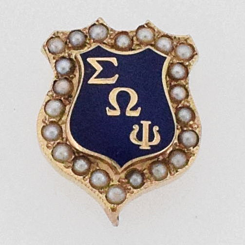 14k Yellow Gold Antique Enamel Pearl 1.2 mm Frat Pin