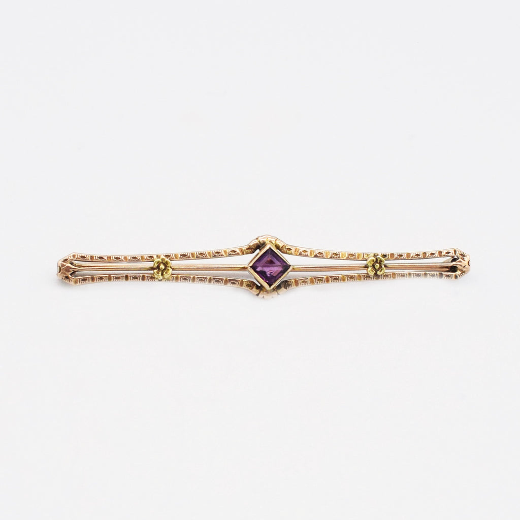 10k Yellow & Rose Gold Antique Ornate Amethyst Bar Pin