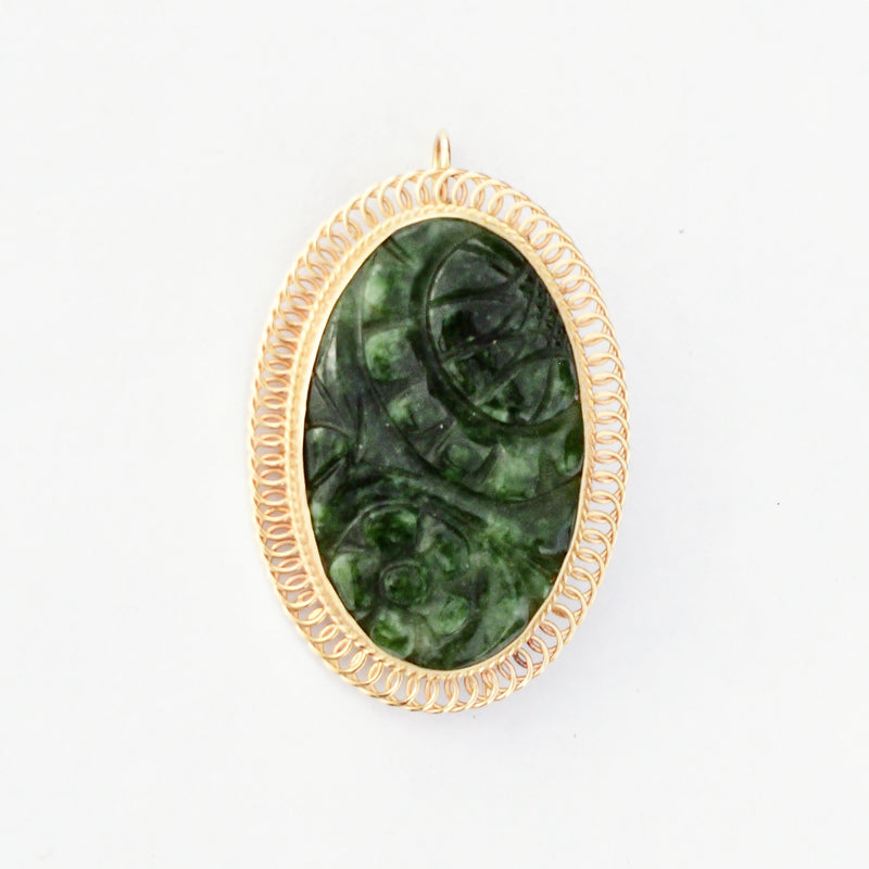 14k Yellow Gold Estate Loop Design Carved Oval Green Jade Pin/Pendant
