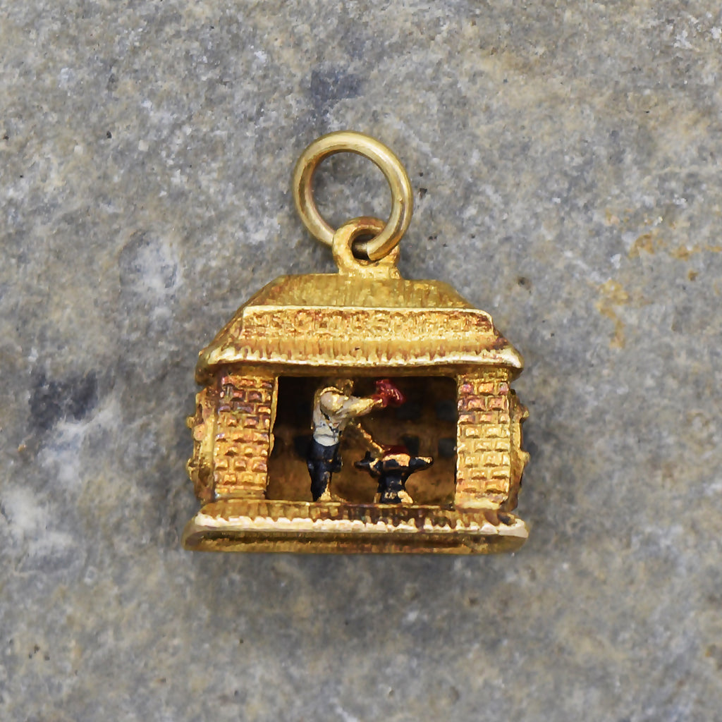9ct Yellow Gold Vintage Articulated Black Smith Forge Charm