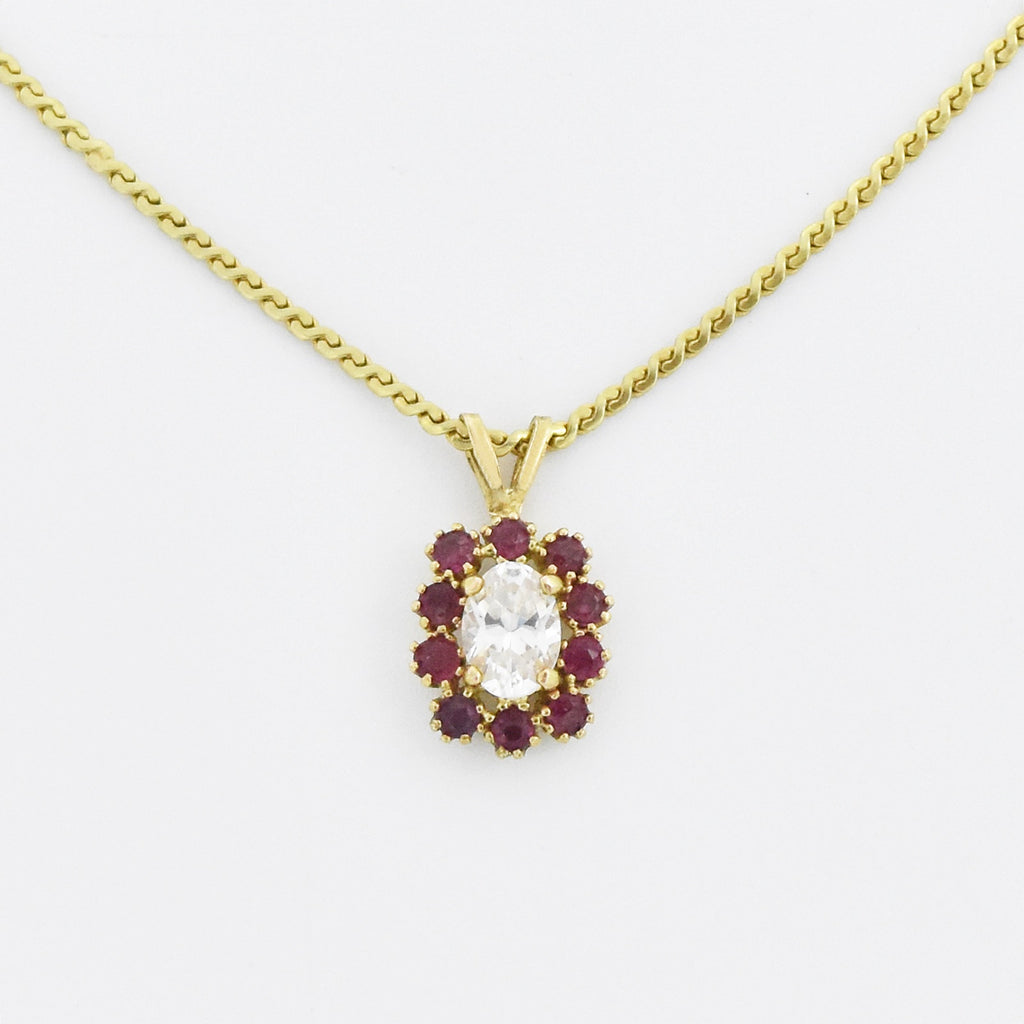 "14k Yellow Gold Estate 16.5"" Long Oval Ruby & CZ Necklace"