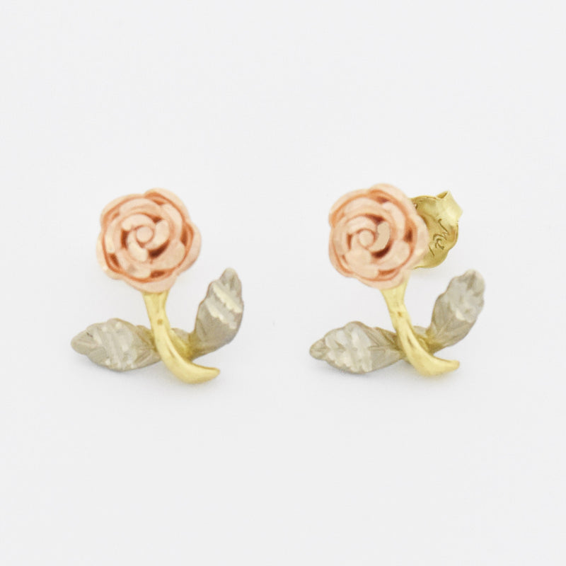 10k Tri Colored Gold Estate Rose Post Earrings