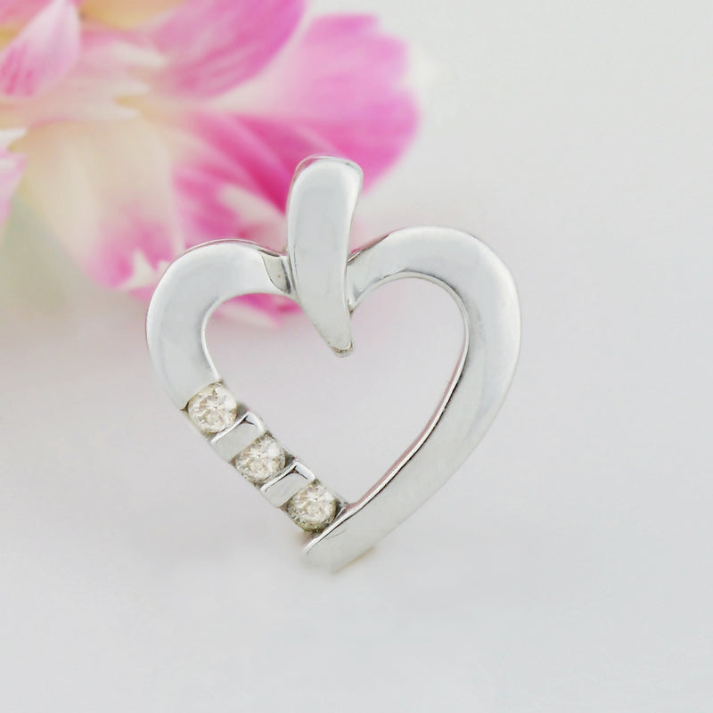 10k White Gold Estate Diamond Heart Pendant