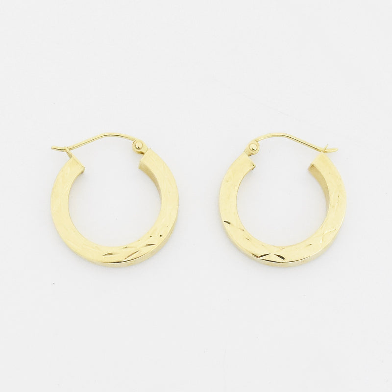 "14k Yellow Gold Estate 3/4"" Textured Hoop Earrings"
