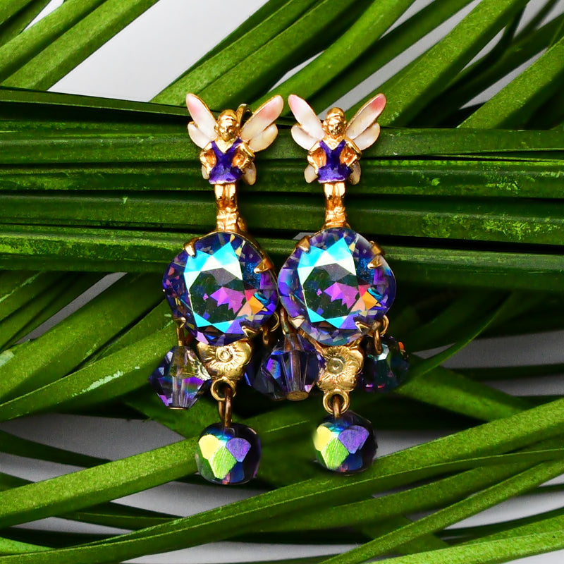 NEW Dsgnr Kirks Folly Dancing Fairies Borealis Crystal Dangle Earrings