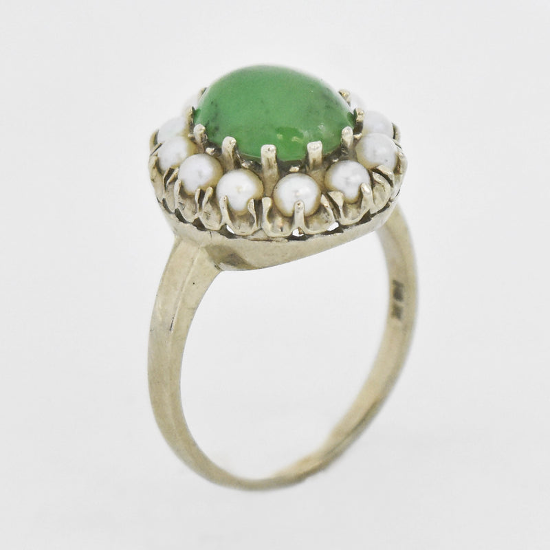 10k White Gold Estate Nephrite Jade & Pearl Ring Size 6.75