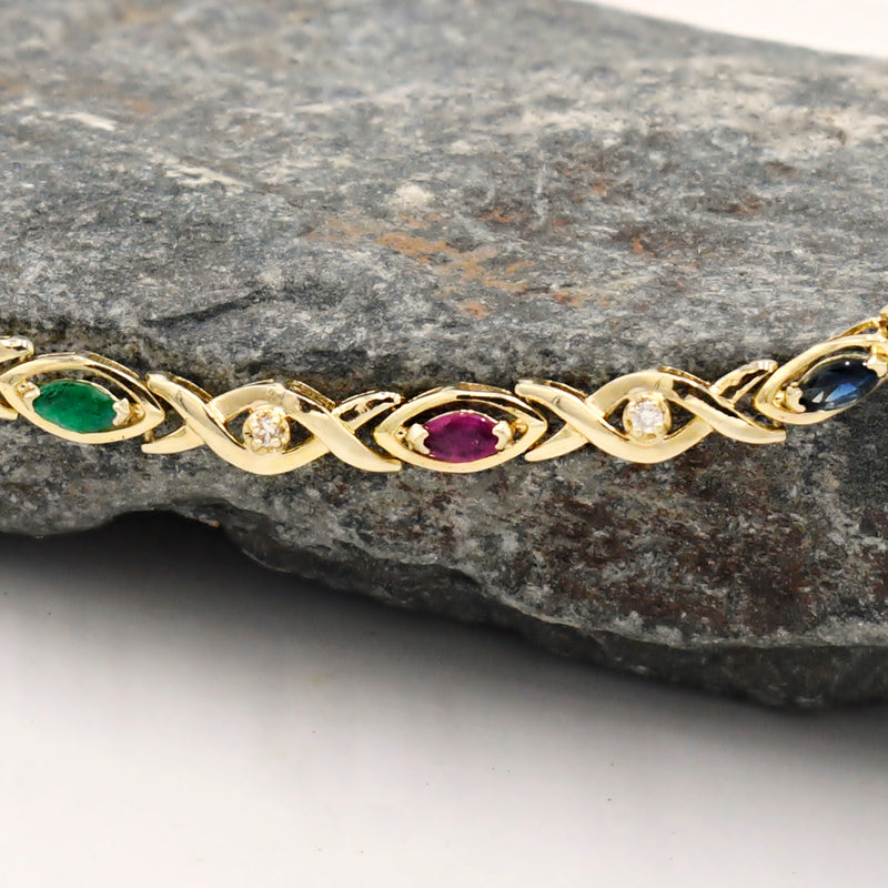 14k Yellow Gold Sapphire Ruby Emerald & Diamond .54 tcw Bracelet 7""