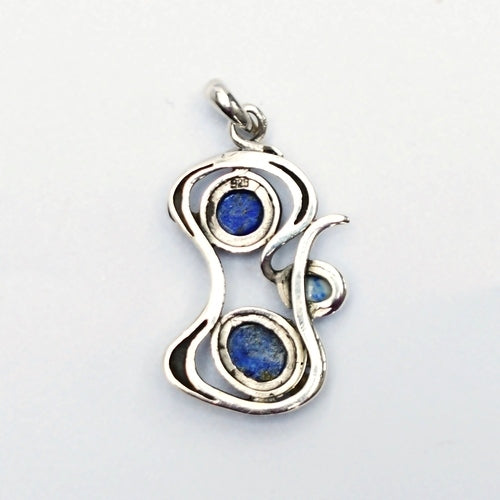 New Sterling Silver 925 Free Form Lapis Gemstone Dangle/Drop Pendant
