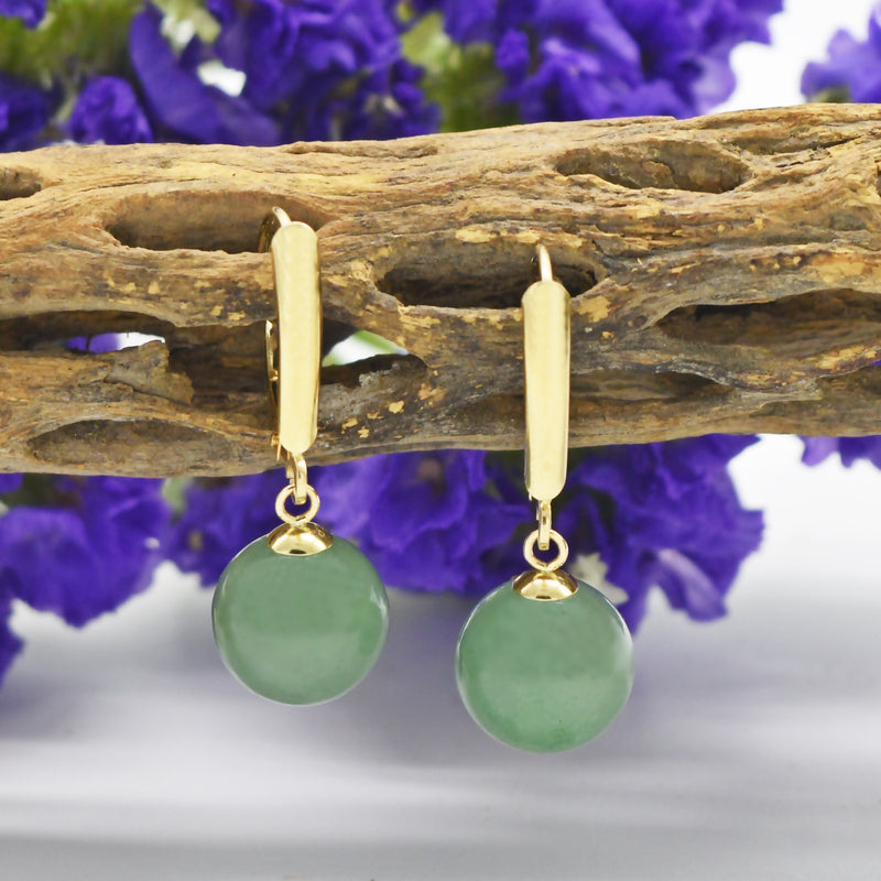 14k Yellow Gold Estate Jade Ball Leverback Earrings
