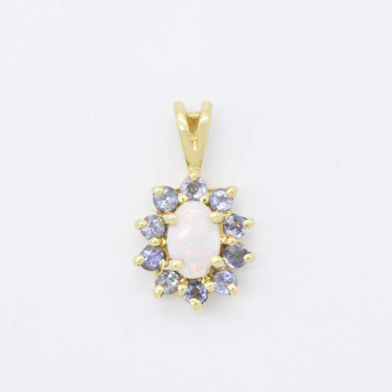 14k Yellow Gold Estate Fire Opal & Tanzanite Pendant