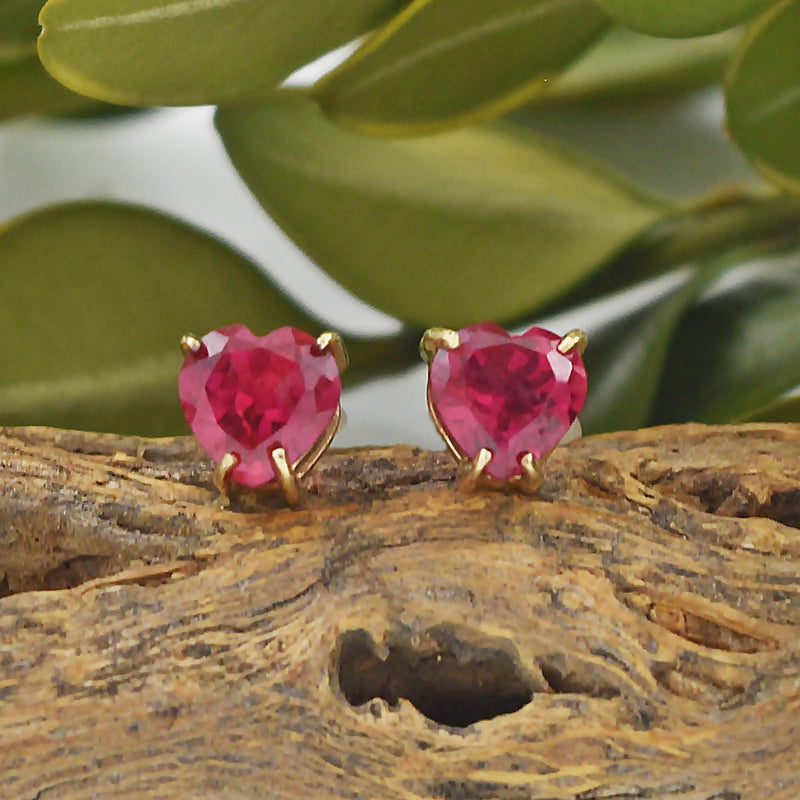 10k Yellow Gold Estate Ruby Heart Post Earrings