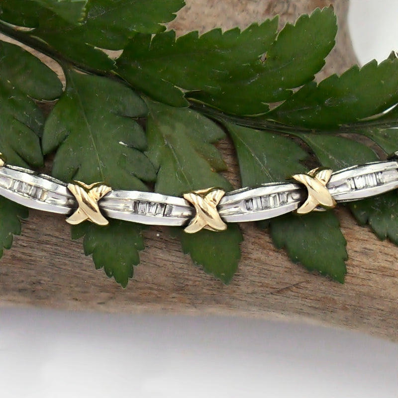 "10k Yellow & White Gold Estate Diamond .37 tcw Link Bracelet 7"" Long"