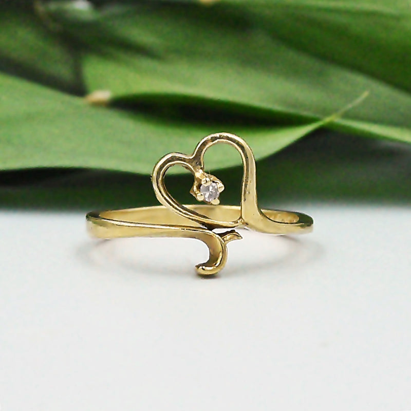 14k Yellow Gold Estate Open Diamond Heart Ring Size 6.5