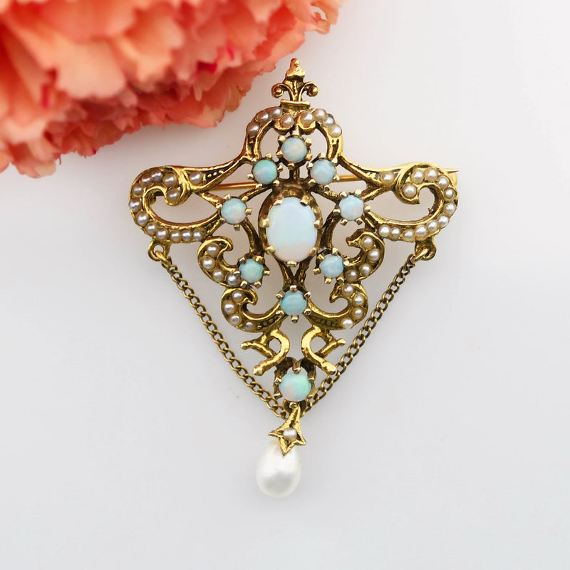 14k Yellow Gold Vintage Ornate Fire Opal & Pearl Pin/Pendant