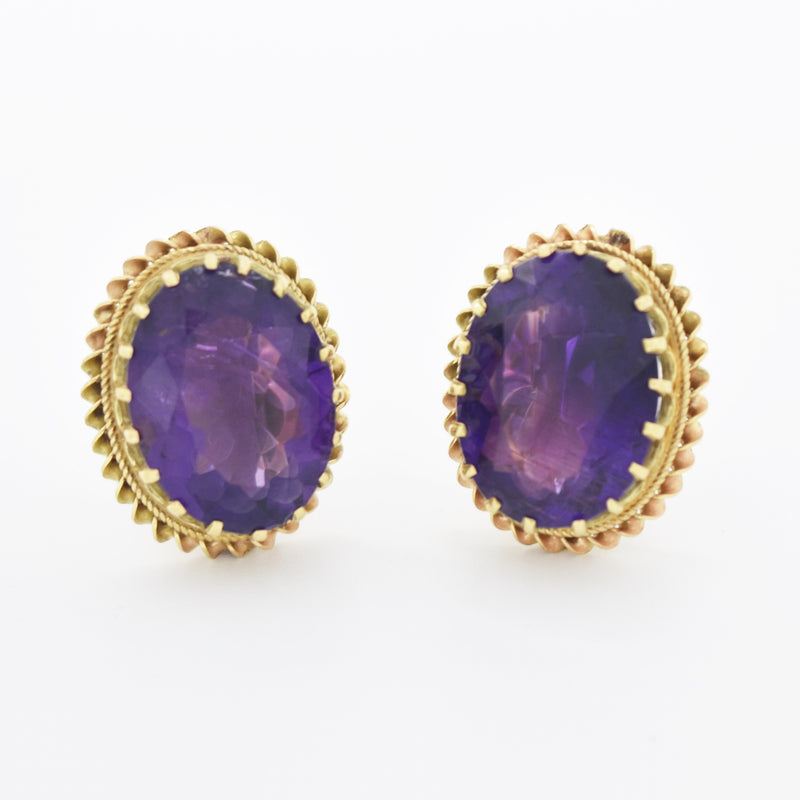 14k Yellow Gold Vintage Crown Setting Amethyst Screwback Earrings