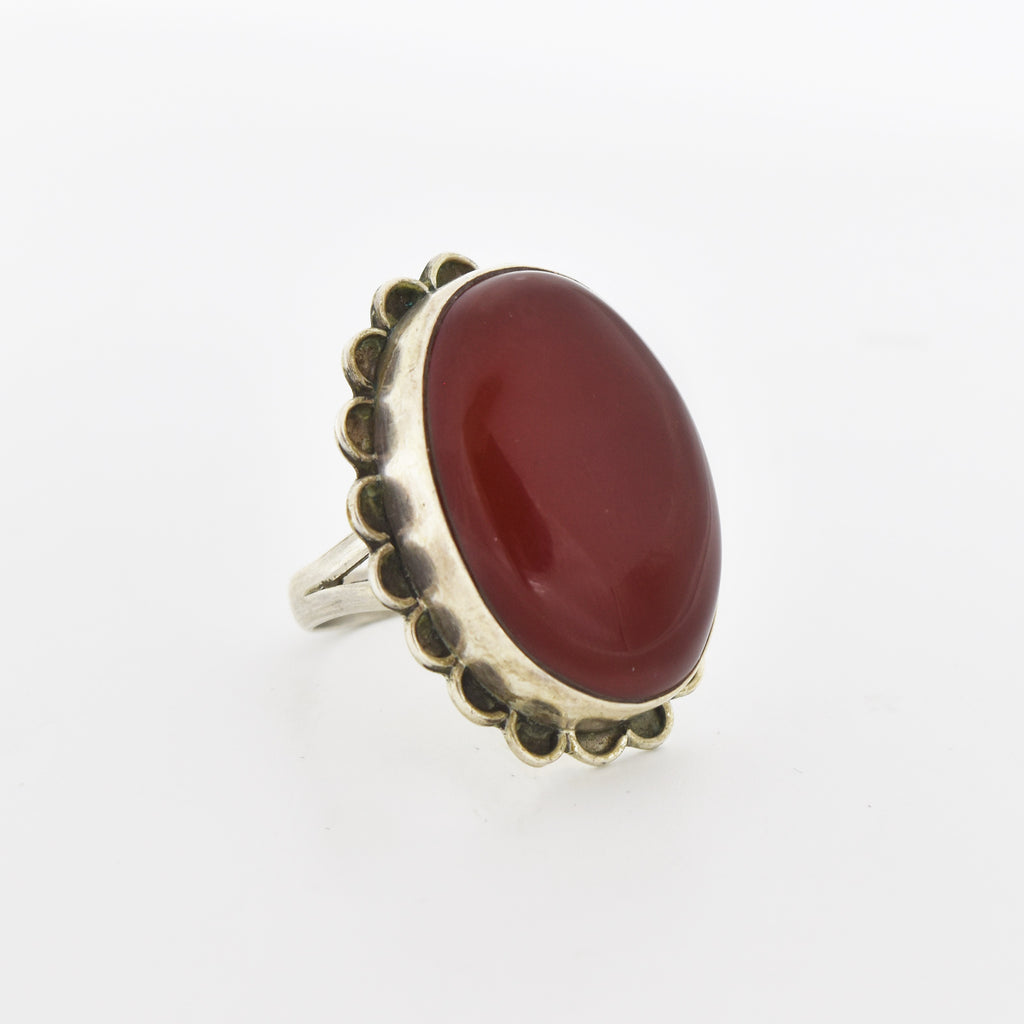 Sterling Silver 925 Estate Oval Red Jasper Ring Size 8