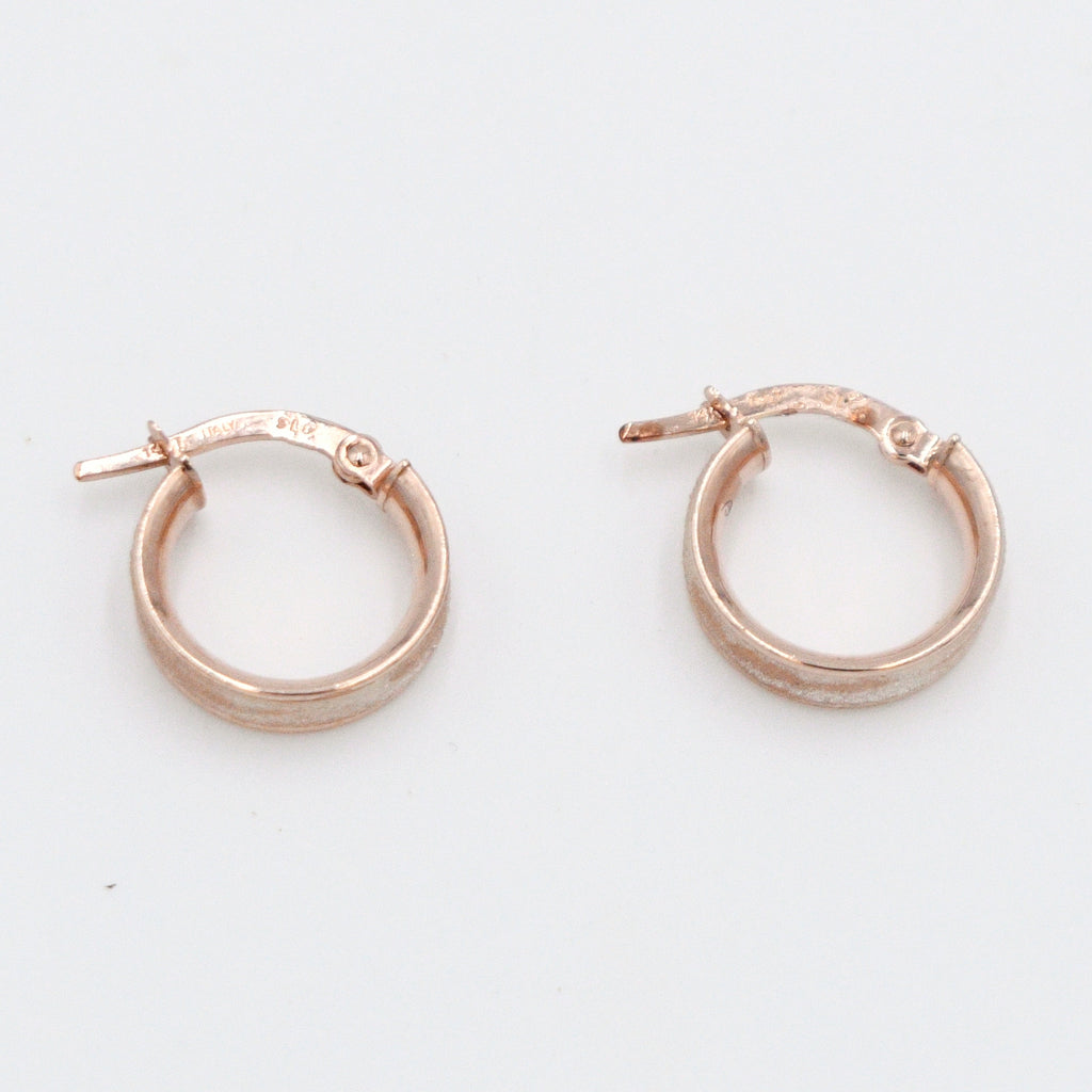 14k Rose Gold Estate Textured Hoops/Hoop Earrings