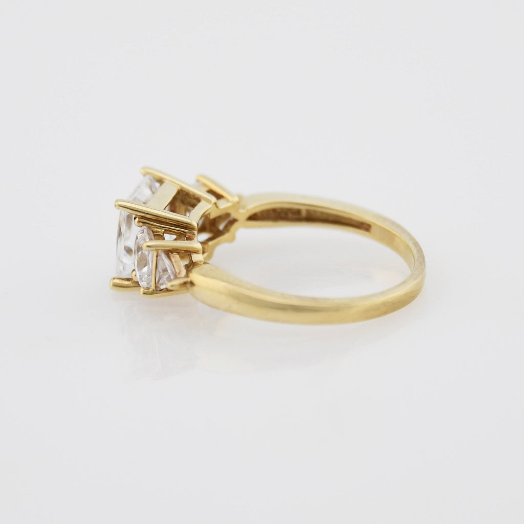 14k Yellow Gold Estate Fancy CZ Tier Ring Size 7