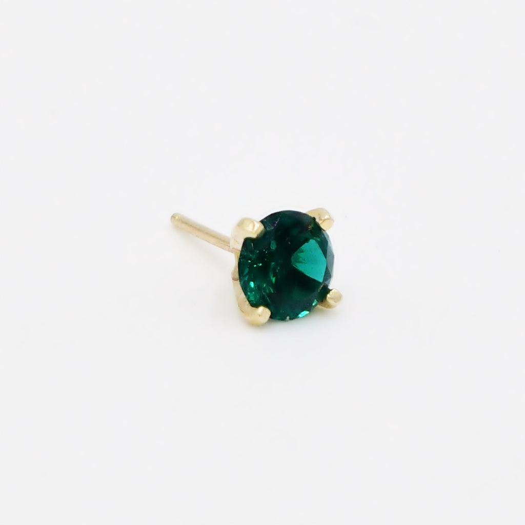 14k Yellow Gold Estate Green Gemstone Stud Single Earring
