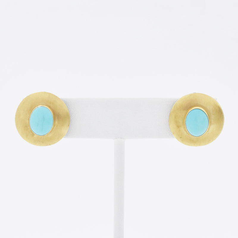 14k Yellow Gold Modern Circle Turquoise Omega Back Earrings