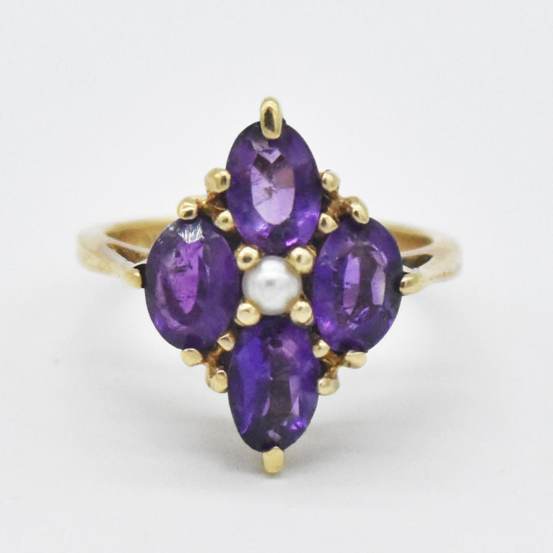 14k Yellow Gold Estate 4 Stone Amethyst & Pearl Ring Size 4.5