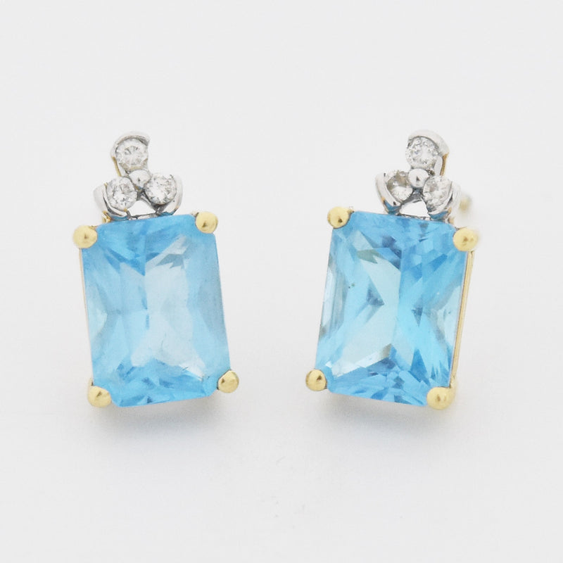 14k Yellow Gold Estate Blue Topaz & Diamond Post Earrings