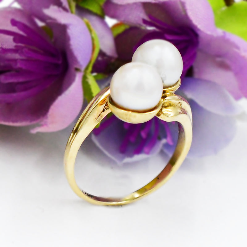 14k Yellow Gold 6.9 mm Double Pearl Gemstone Bypass Ring Size 5.75