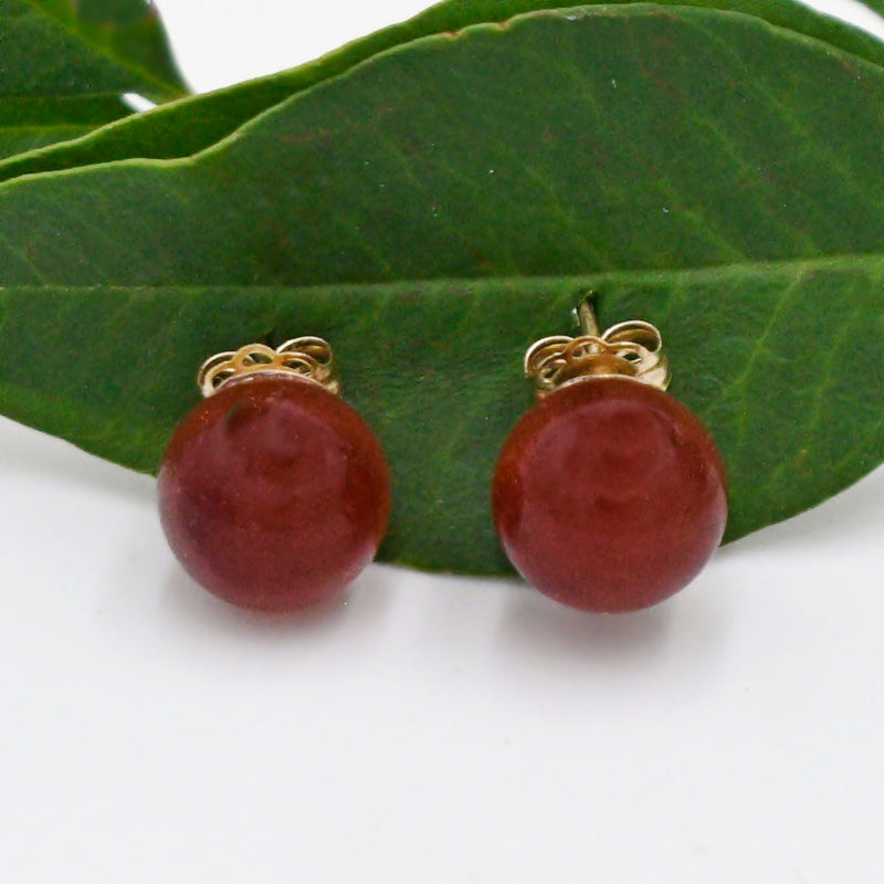 14k Yellow Gold Estate Carnelian Gemstone Ball/Bead Post Earrings