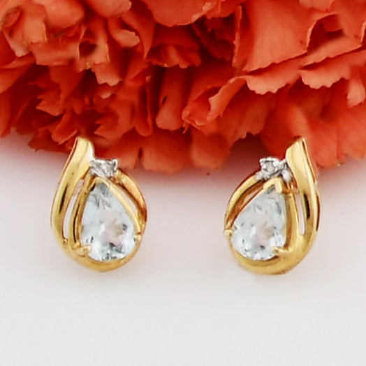 14k Yellow Gold Estate Pear Aquamarine & Diamond Post Earrings