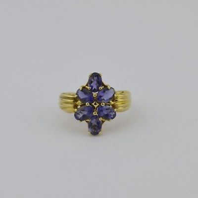 14k Yellow Gold Estate Amethyst Ring Size 8.25