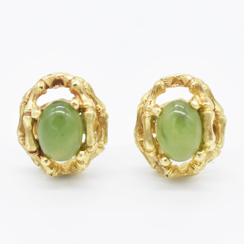 14k Yellow Gold Estate Bamboo Design Cabochon Jade Post Earrings