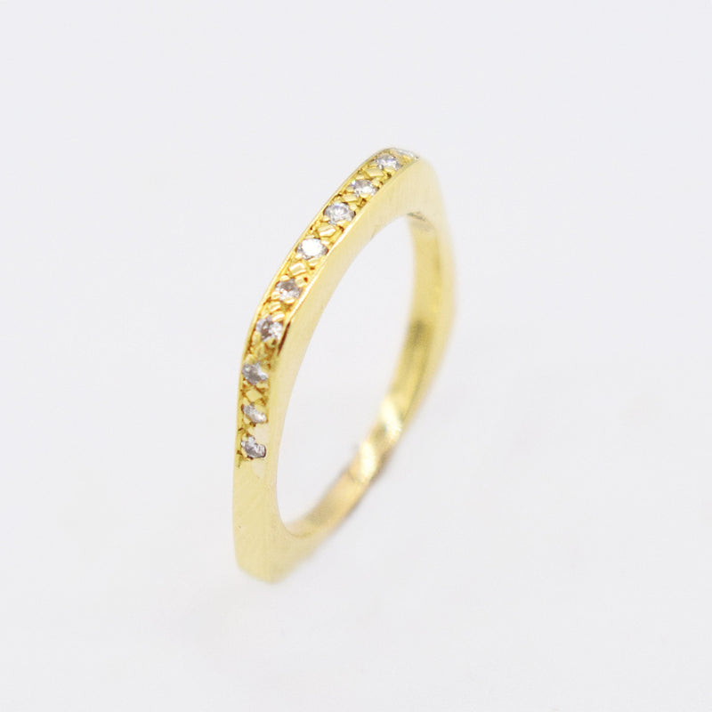 18k YG Estate Square Band Diamond 0.13 tcw Wedding Band/Ring Size 7.5