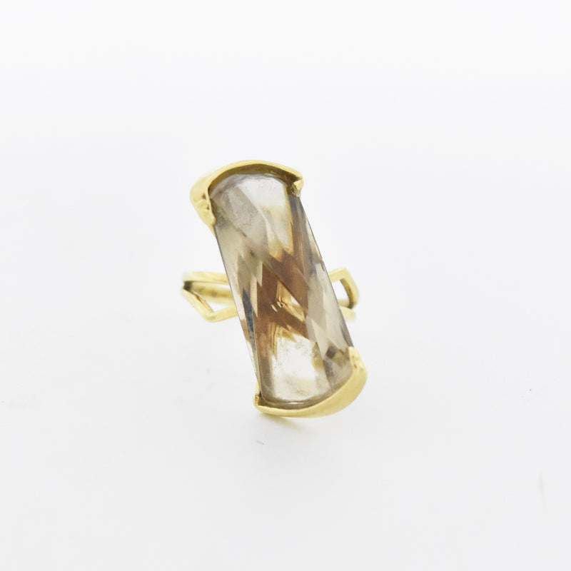 14k Yellow Gold Open Band Mid Century Modern Smokey Quartz Ring Size 7