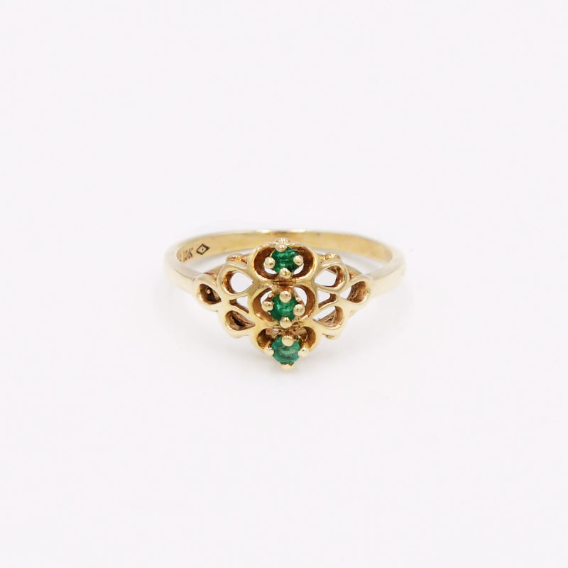 10k Yellow Gold Estate Open Work 3/Three Emerald Gemstone Ring Size 8