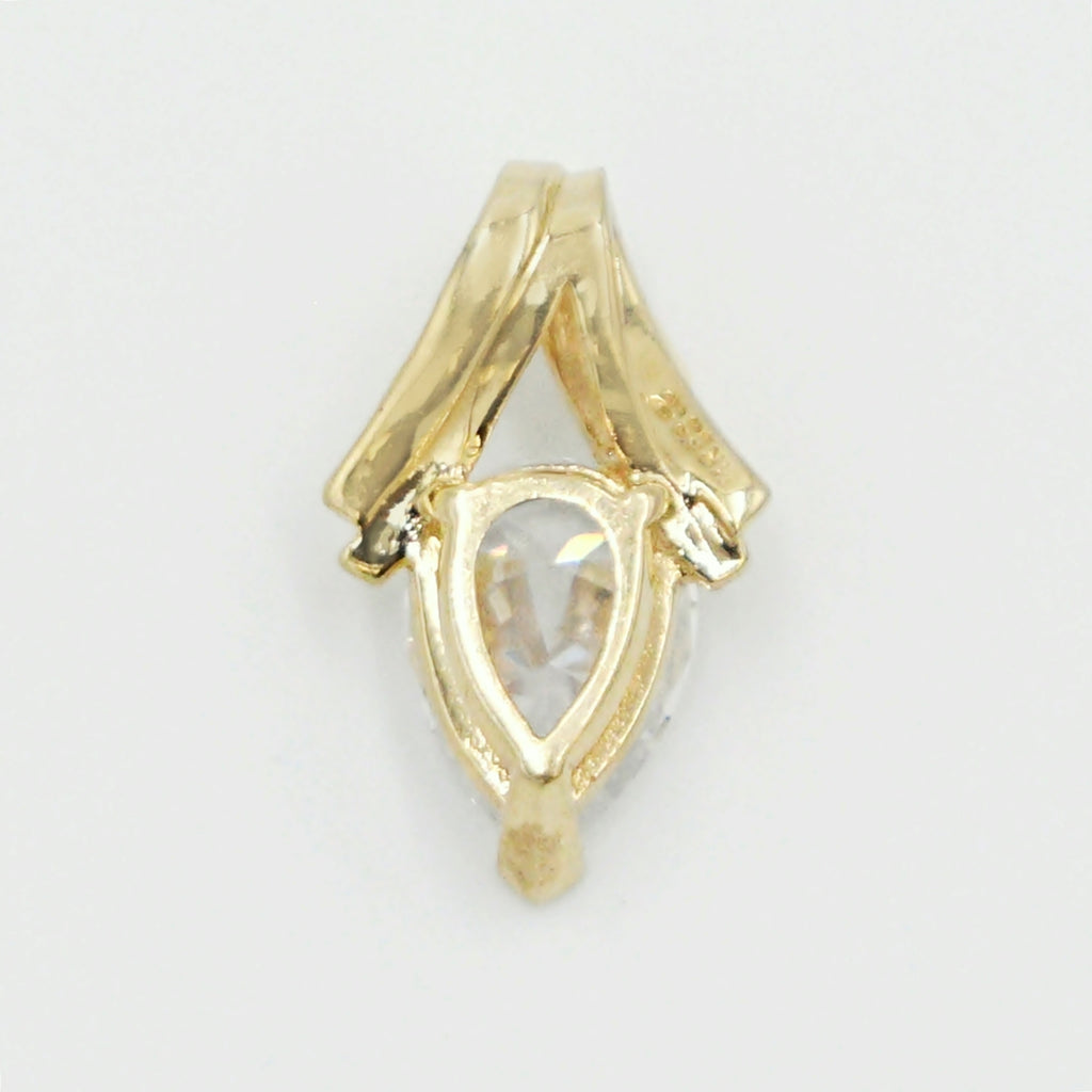 14k Yellow Gold Estate Swirl CZ Tear Drop/Pear Shape Pendant