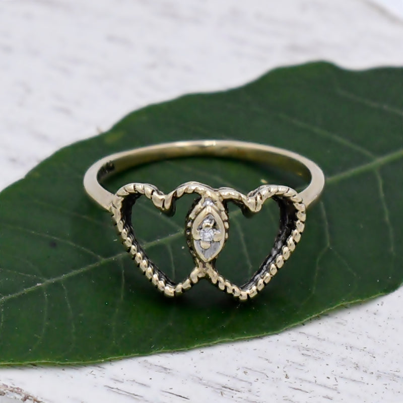 10k Yellow Gold Estate Double/Dual Heart Love Diamond Ring Size 5