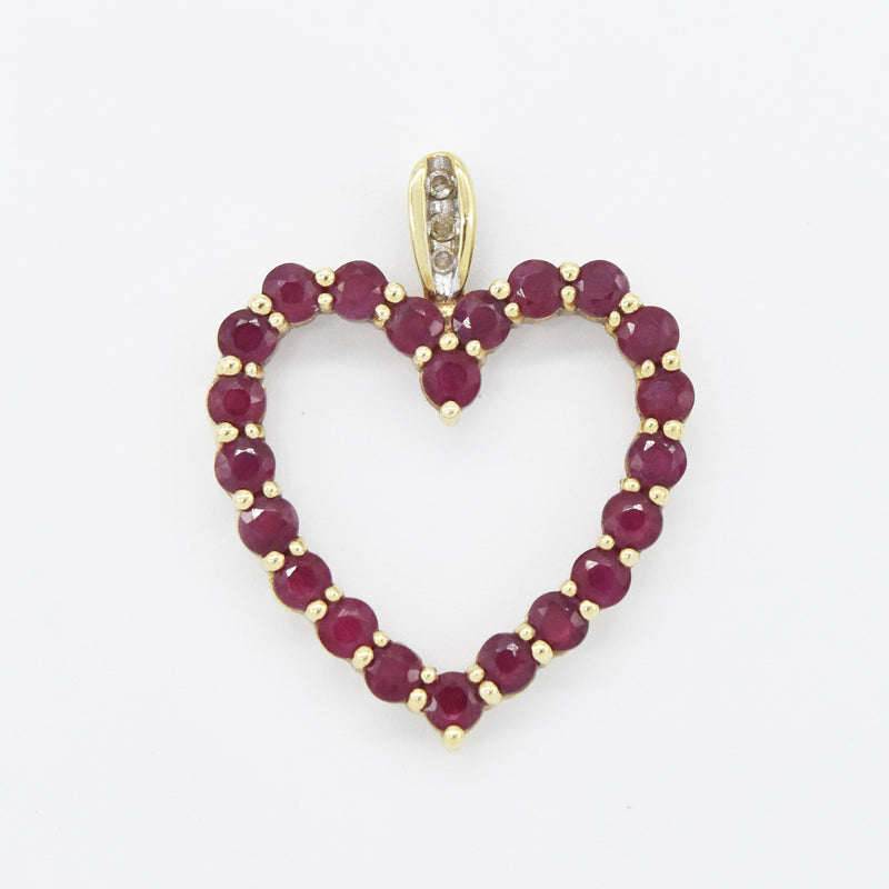 10k Yellow Gold Estate Open Ruby & Diamond Heart Pendant