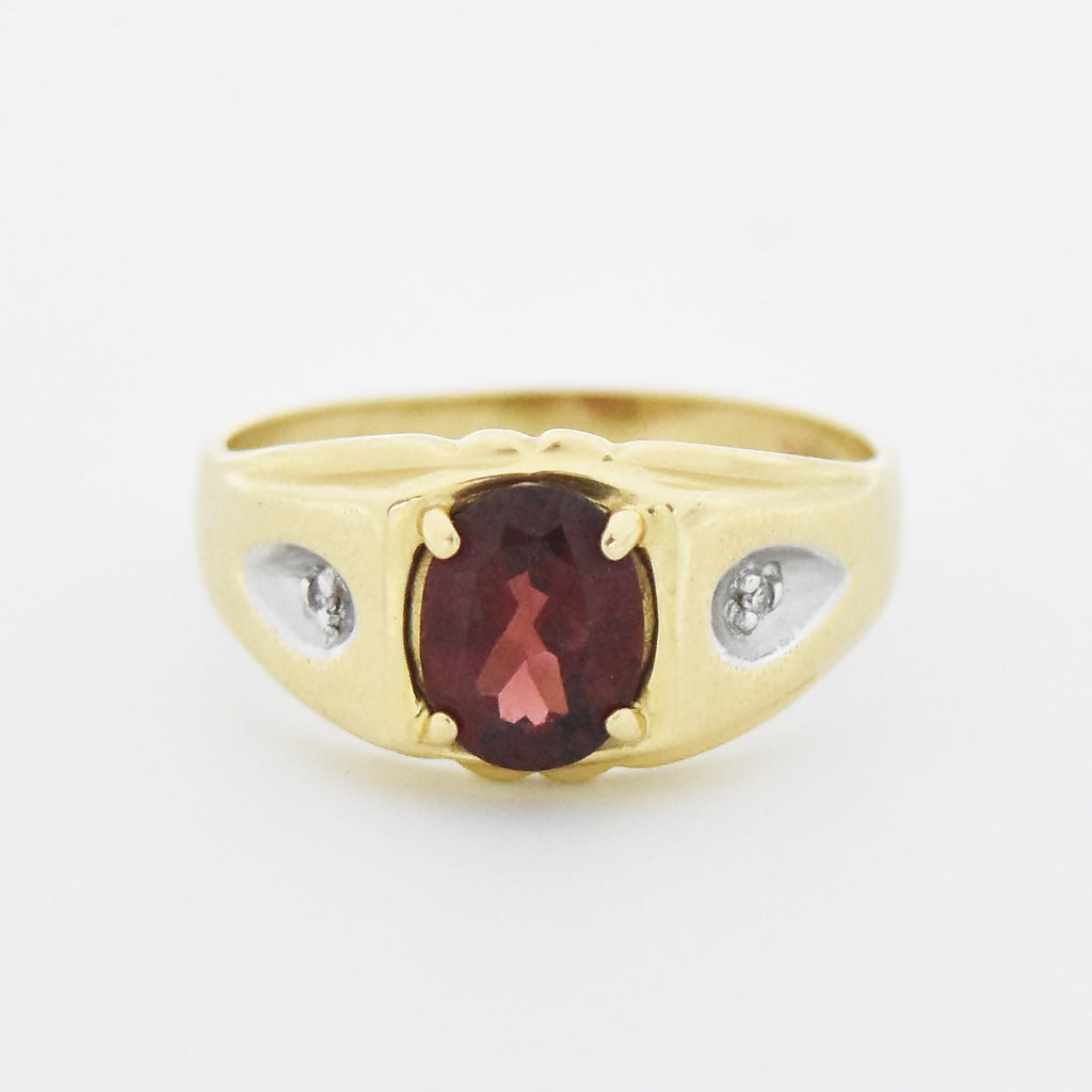 14k Yellow Gold Vintage Garnet & Diamond Ring Size 11
