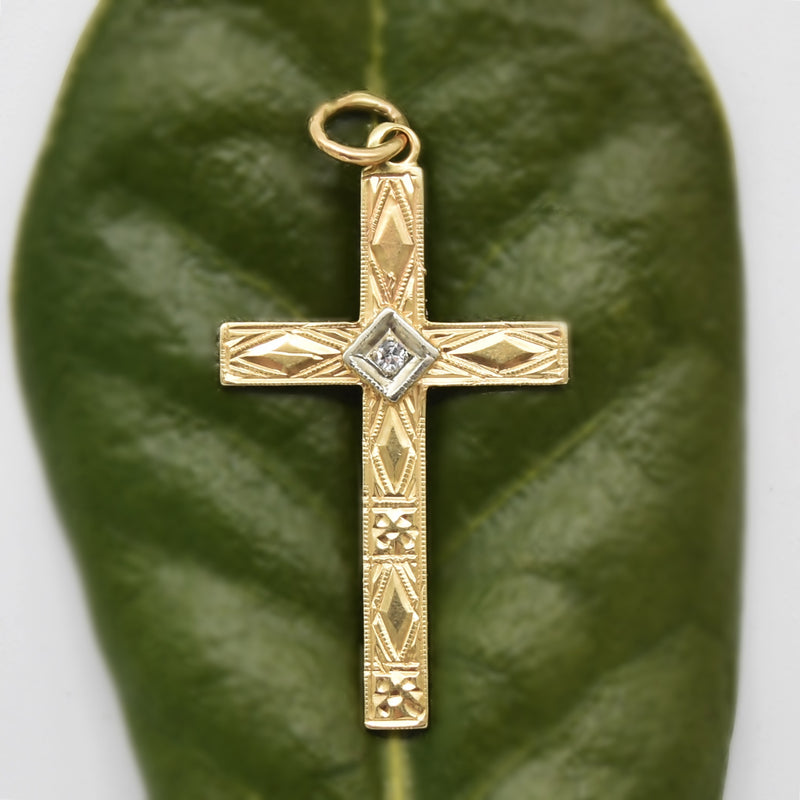 14k Yellow Gold Antique Ornate Diamond Cross Pendant