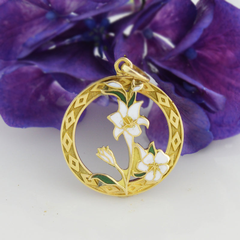 14k Yellow Gold Estate Enamel Flower/Floral Pendant